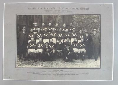 Facsimile photograph of Victorian Team, Interstate Football - Adelaide Oval, 12 Aug 1922