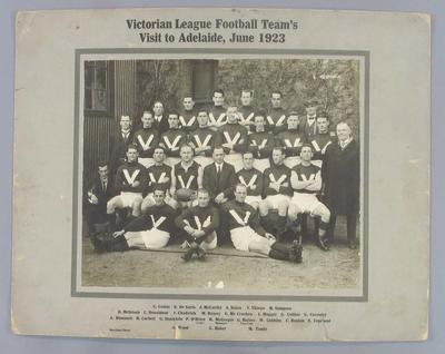 Photograph of Victorian League Football Team, Adelaide - June 1923