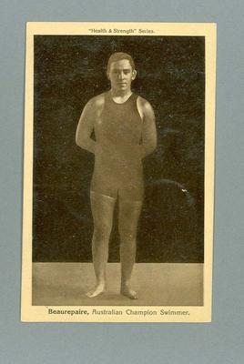 """Postcard, image of Frank Beaurepaire - """"Health and Strength"""" Series"""