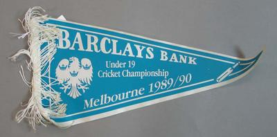 Pennant,  Barclays Bank Under 19 Cricket Championship - Melbourne 1989/90