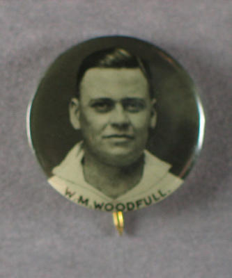 Badge with image of William Woodfull, 1934
