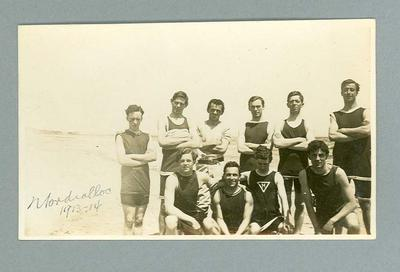 Postcard, depicts group of male swimmers including F Beaurepaire - Mordialloc, 1913-14