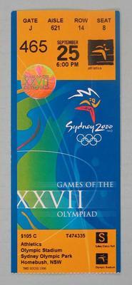 Ticket - 2000 Sydney Olympics, Olympic Stadium, Athletics, 25 September, No. 465