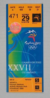 Ticket - 2000 Sydney Olympics, Olympic Stadium, Athletics, 29 September, No. 471