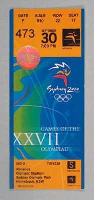 Ticket - 2000 Sydney Olympics, Olympic Stadium, Athletics, 30 September, No. 473