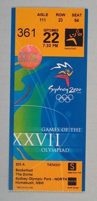 Ticket - 2000 Sydney Olympics, Olympic Park, Basketball, 22 September, No. 361