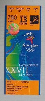 Ticket - 2000 Sydney Olympics, Football, Melbourne Cricket Ground,13 September, No. 750