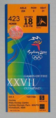 Ticket - 2000 Sydney Olympics, Hockey, Sydney Olympic Park, 18 September, No. 423