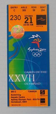 Ticket - 2000 Sydney Olympics, Swimming, Aquatic Centre, 21 September, No. 230