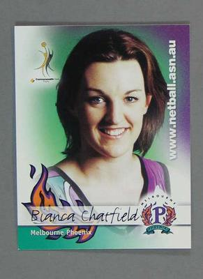 Melbourne Phoenix Netball team swap card of Bianca Chatfield