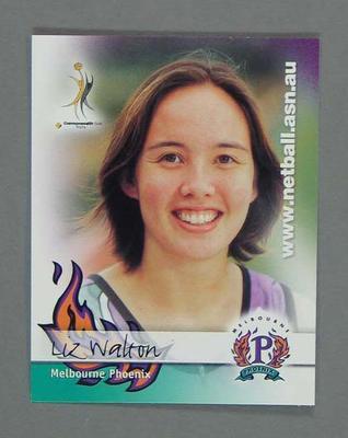 Melbourne Phoenix Netball team swap card of Liz Walton