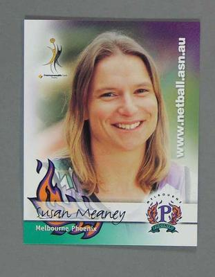 Melbourne Phoenix Netball team swap card of Susan Meaney
