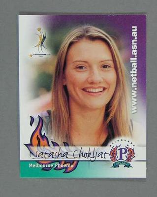 Melbourne Phoenix Netball team swap card of Natasha Chokljat