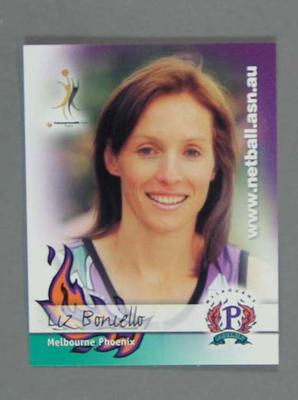 Melbourne Phoenix Netball team swap card of Liz Boniello