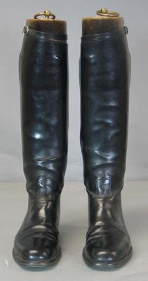 Pair of equestrian riding boots worn by Wyatt Thompson, part of informal riding suit