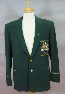 Green felt blazer, worn by Wyatt Thompson at the 1956 Olympic Games