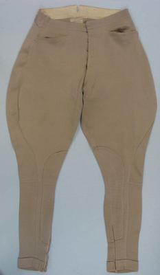 Beige cotton jodhpurs worn by Wyatt Thompson, part of informal riding suit