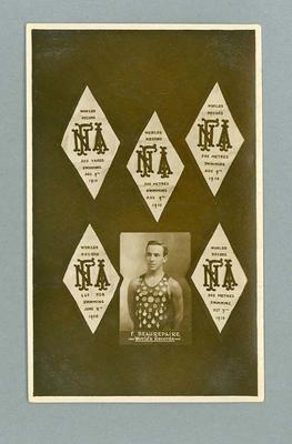 Postcard, image of Frank Beaurepaire with swimming medals - 1910