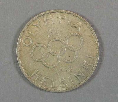 500 Markkaa coin - commemorates the 1952 Olympic Games in Helsinki.