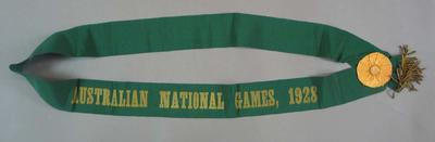 Ribbon with rosette - Australian National Games 1928 - awarded to Harry Campbell