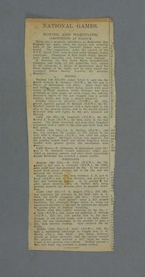 Newspaper clipping -  Australian National Games, 1928, boxing and wrestling; Documents and books; 2008.228.3