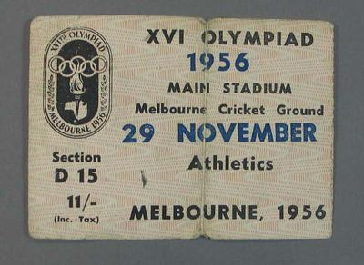 Ticket for 1956 Melbourne Olympic Games, Athletics on 29 November at MCG; Civic mementoes; 2008.233.2