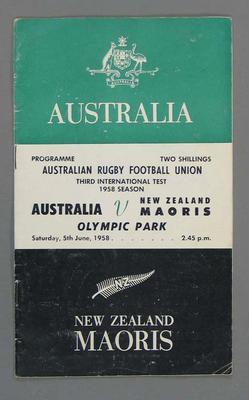 Rugby union match program, Australia v Maoris, 5th June1958