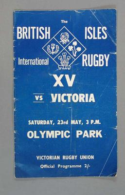 Rugby union match program, Victoria v British & Irish Lions, 23 May 1959; Documents and books; 2008.233.4