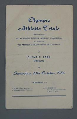 Programme - Olympic Athletic Trials - 20 October 1956; Documents and books; 2008.233.6