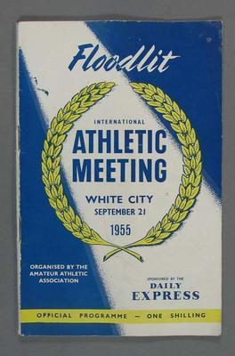 Programme - International Athletic Meeting, White City Stadium, 21 September 1955