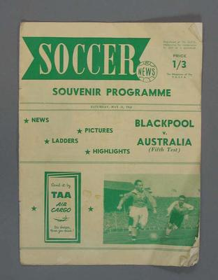 Programme, Blackpool versus Australia Fifth Test soccer match, May 31, 1958.