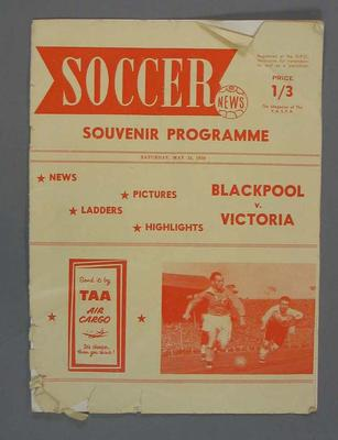 Programme - Blackpool v Victoria Soccer match, 24 May 1958