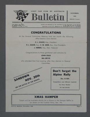 Light Car Club of Australia bulletin, dated November 1966.