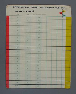 Golf scorecard, International Trophy and Canada Cup, 1959