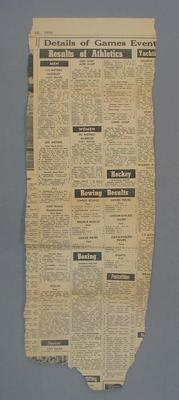 Newspaper clipping -  The Age, 28th November 1956 - Olympic Game Results