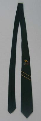 Green 1956 Olympic tie, worn by Wyatt Thompson at the 1956 Olympic Games.