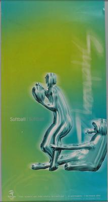 Poster for the Sydney 2000 Olympic Games, Softball, blue and green.