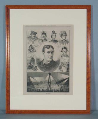 "Framed engraving, ""Football by Electric Light"" - The Australasian Sketcher, 30 August 1879; Artwork; M16498.3"