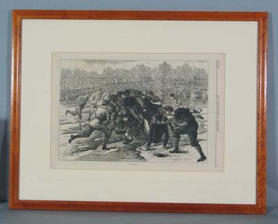 """Framed engraving, """"Football"""" - The Australasian Sketcher, 12 June 1875; Artwork; M16498.4"""