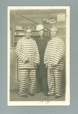 Postcard, depicts Frank Beaurepaire in fancy dress with two other men - 1912