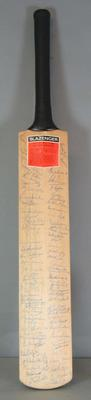 Autographed cricket bat associated with the Centenary Test, 1977