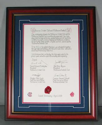 Framed certificate commemorating the new affiliation between the Melbourne Cricket Club and Melbourne Football Club, 1st April 2009