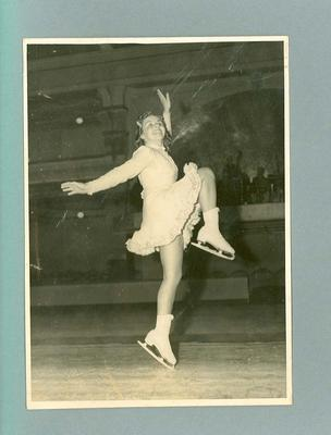 Photograph of Betty Cornwell skating, official opening St. Moritz, March 1939