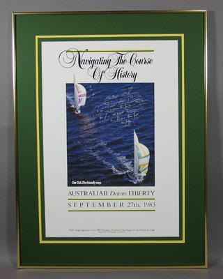 Framed poster celebrating Australia II winning 1983 America's Cup