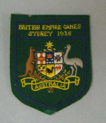 Blazer patch issued to Elsie May Jones, IIIrd British Empire Games, 1938