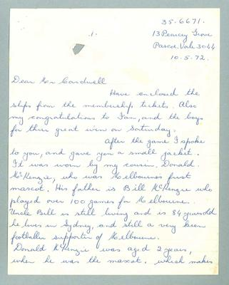 Three page letter addressed to a Mr Cardwell from  Marjorie Whitehead, regarding the  Melbourne Football Club jerkin