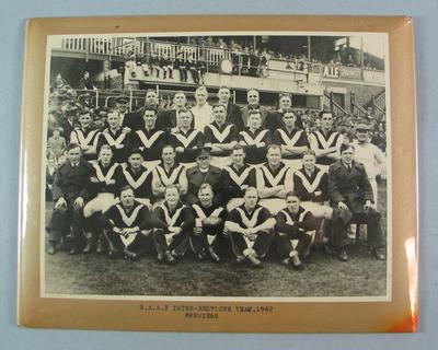 Photograph of RAAF Inter-services team, 1942 Premiers; Photography; N2009.93.2