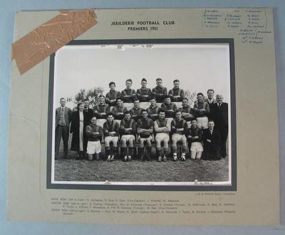 Photograph of Jerilderie Football Club, 1951 Premiers