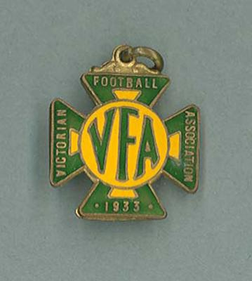 Membership medallion, Victorian Football Association - 1933 season