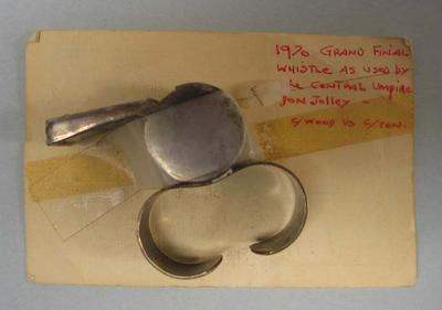 1970 Grand Final Umpire's whistle used by Don Jolley